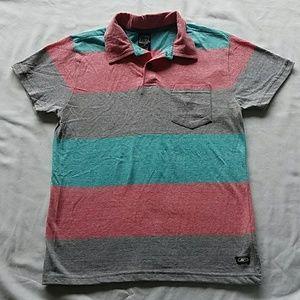 Boy Polo Shirt SIZE 8 Gray/Coral/Aqua